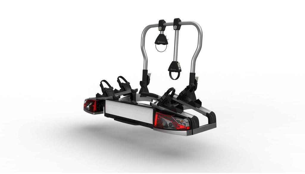 Porte-vélos arrière, pour dispositif d'attelage, rabattable, pour 2 vélos Matière plastique /  Aluminium /  Acier, Coloris anthracite / Coloris noir