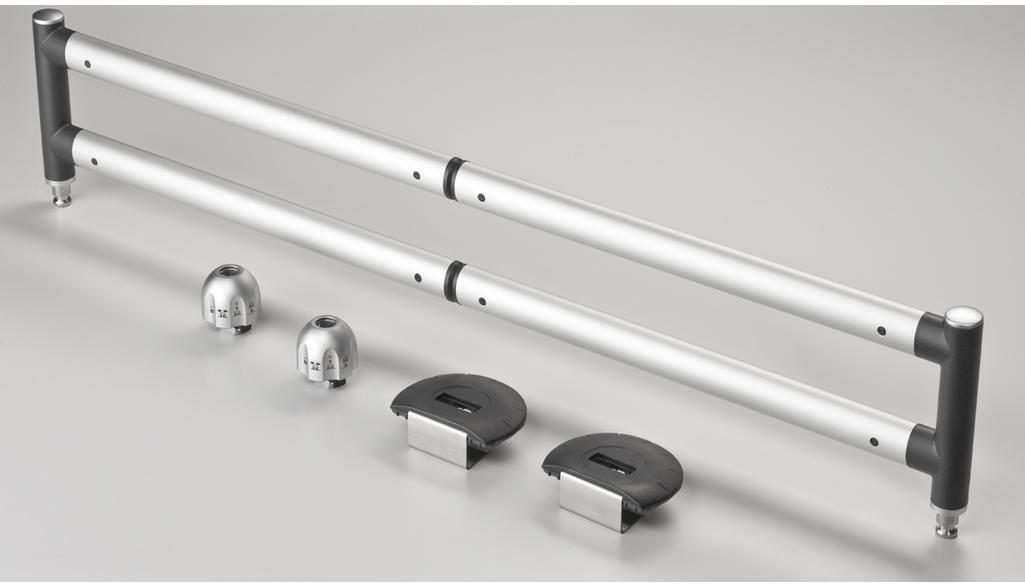 Barres télescopiques pour le coffre, pour plancher de chargement 15 mm, complet Coloris noir / Coloris: argent