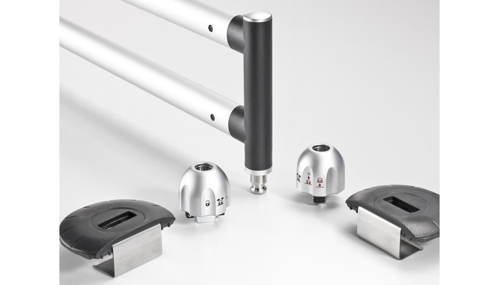 Barres télescopiques pour le coffre, pour plancher de chargement 19 mm, complet Coloris noir / Coloris: argent