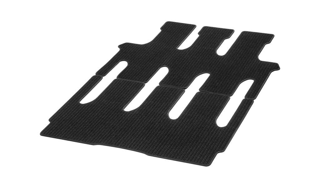 Rep floor mats, passenger compartmt., with single rail, 1 sliding door, 2-piece LHD/RHD, black