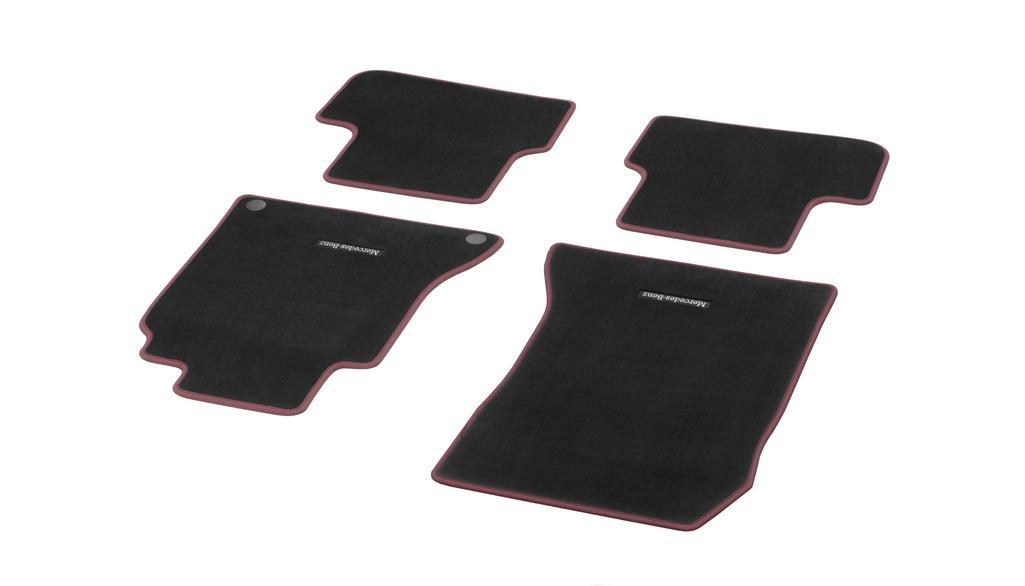 Velour floor mats CLASSIC, set, 4-piece black / cranberry red