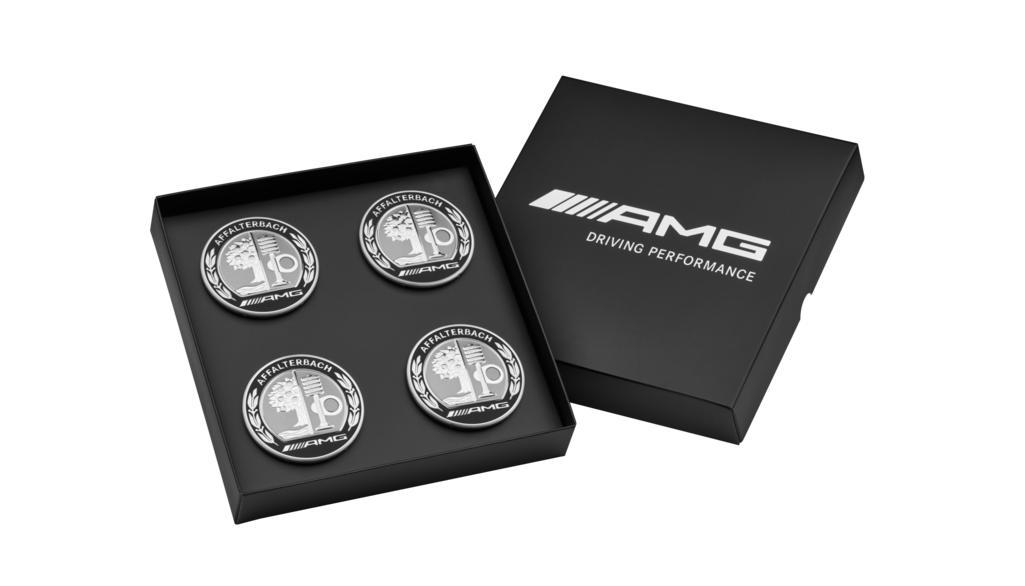 Cache-moyeu AMG, avec blason AMG, Lot de 4 Coloris: argent / Coloris noir