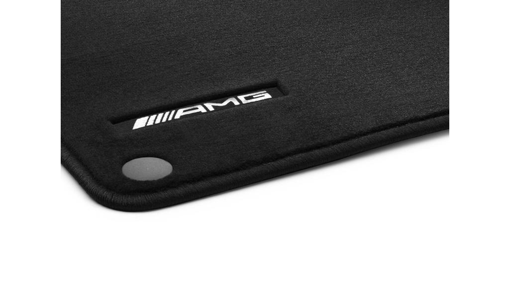 AMG velour floor mats, set, 4-piece, with embroidered AMG logo black, RHD