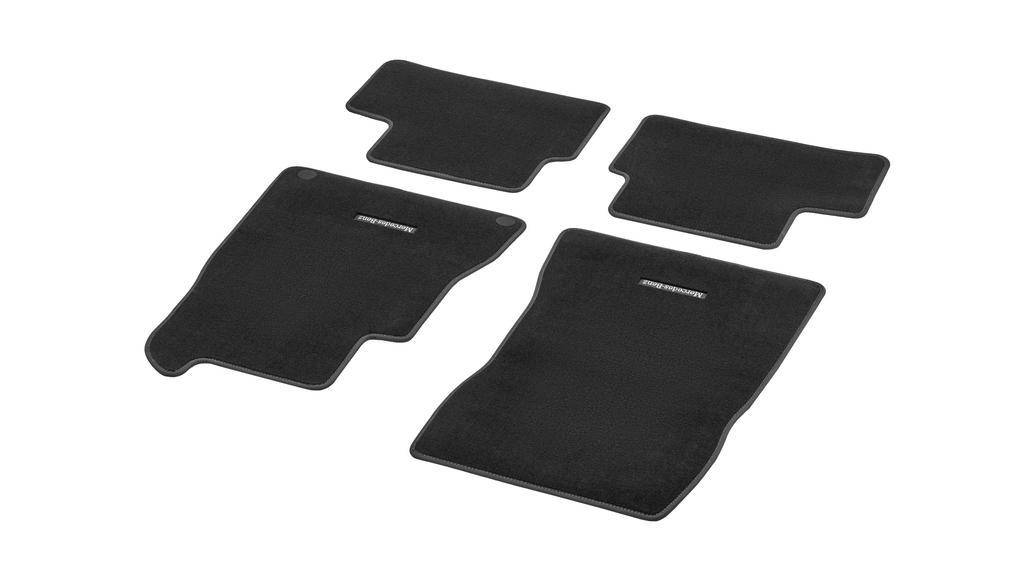 Velour floor mats CLASSIC, set, 4-piece, Mid grey topstitching black