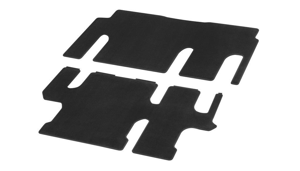 Velour floor mats, passenger compartment, with single rail, 1 sliding door, 2-piece, U3R/UR3 black